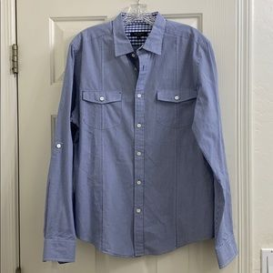 Ted Baker blue button down adjustable arms sz 5